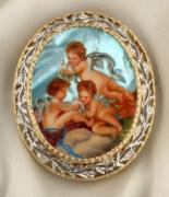 Hand Painted Jewelry - Art Jewelry-hand Painted Pendant And Brooch Mother Of Pearl Gold And Diamonds Angels F.boucher by Evelina Pastilati
