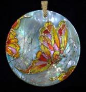 Hand Painted Jewelry - Art Jewelry-hand Painted Pendant Mother Of Pearl Butterfly by Evelina Pastilati