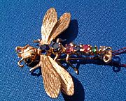 Fly Jewelry - Art Nouveau gold pin in shape of dragon fly decorated with sapphires rubies emerald and diamond by Goldsmith