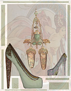 Shoe Mixed Media Prints - Art Nouveau inspired shoe Print by Dana Biviano