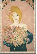 French Matting Paintings - Art Nouveau Lilies by Dee Van Houten