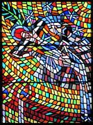 Spirit Photos - Art Nouveau Stained glass windows SS Vitus Cathedral Prague by Christine Till