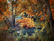 Autumn Landscape Digital Art Framed Prints - Art of Autumn Framed Print by Jessica Jenney