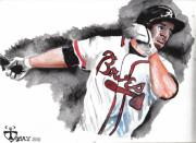 Baseball Art Painting Framed Prints - Art of the Braves Framed Print by Torben Gray