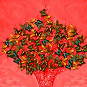 Subtle Colors Prints - Art style butterflies.16 Print by Susana Sanchez Giraud