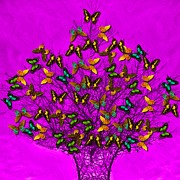 Subtle Colors Prints - Art style butterflies.21 Print by Susana Sanchez Giraud