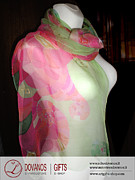Handcrafted Paintings - ART to WEAR I fashion I Hand painted silk scarf  Young love by L Gifts E-shop