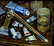Water Jars Painting Metal Prints - Art Tools Metal Print by Thor Wickstrom