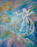 Goddess Mythology Paintings - Artemis Moon by Diana Hume