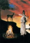 Wicca Paintings - Artemis Protector of the Night by Neil Geddes-Ward