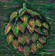 Food And Beverage Painting Originals - Artful Artichoke by Davis Elliott
