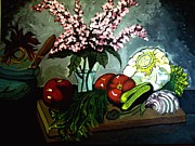 Tomatos Painting Framed Prints - Artful Cuisine  Framed Print by Ulrike Proctor