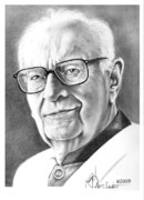 Writer Drawings Metal Prints - Arthur C. Clarke Metal Print by Murphy Elliott