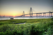 Charleston South Carolina Posters - Arthur Ravenel Bridge Sunset Poster by Dustin K Ryan