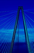 Suspension Posters - Arthur Ravenel Jr Bridge III Poster by DigiArt Diaries by Vicky Browning