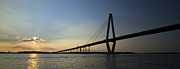 Charleston Sunset Posters - Arthur Ravenel Jr Bridge over the Cooper River Charleston SC Poster by Dustin K Ryan