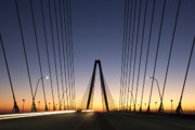 Suspension Posters - Arthur Ravenel Jr Bridge Sunrise Poster by Dustin K Ryan