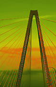 Suspension Posters - Arthur Ravenel Jr Bridge V Poster by DigiArt Diaries by Vicky Browning