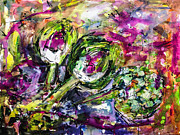 Ginette Fine Art Llc Ginette Callaway Metal Prints - Artichoke Abstract Watercolor and ink Metal Print by Ginette Fine Art LLC Ginette Callaway