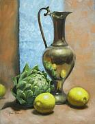 Pitcher Painting Originals - Artichoke and Lemons by Anna Bain