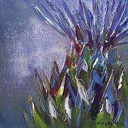 Food Mixed Media Prints - Artichoke Burst Print by Barb Pearson