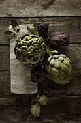 Color Purple Framed Prints - Artichoke Framed Print by Lew Robertson