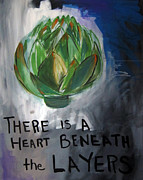 Poetry Art - Artichoke by Linda Woods