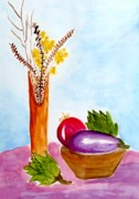 Vegetables Paintings - Artichokes and Eggplant by Jamie Frier