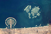 Aerial Photograph Framed Prints - Artificial Archipelagos, Dubai, United Framed Print by NASA/Science Source