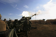 Artillery Relocation Training Exercise Prints - Artillerymen Fire A 155mm Round Print by Stocktrek Images