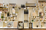 Olive Oil Prints - Artisan Product Shelves In A Country Print by Corepics