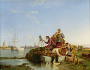 Pieter Posters - Artist at his Easel and Shipping Beyond Poster by Pieter Christiaan Cornelis Dommelshuizen