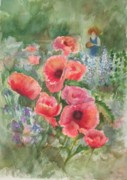 Watercolor Society Prints - Artist in the Garden Print by B Rossitto