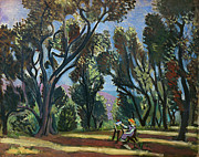 Exterior Paintings - Artist In The Olive Grove by Granger