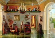 Antiques Paintings - Artist Studio closeup view by Sasha Sergeeff