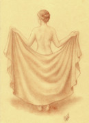 Blanket Drawings Prints - Artistic Nude I Print by Enaile D Siffert