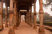 Artistic Pillars Are All That Remain Of This Old Monument Inside The Qutub Minar Complex Print by Ashish Agarwal