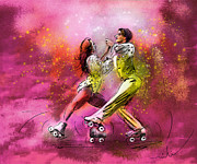 Couple Mixed Media - Artistic Roller Skating 01 by Miki De Goodaboom
