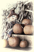 Corn Stalks Art - Artistic Scarecrow with Pumkins by Linda Phelps