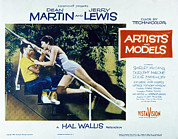 1955 Movies Photo Framed Prints - Artists And Models, Jerry Lewis Framed Print by Everett