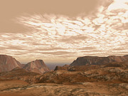 Planets Art - Artists Concept From Atop Olympus Mons by Walter Myers
