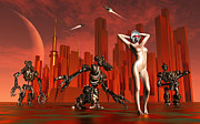 Alien Mask Posters - Artists Concept Of A Hot Pinup Pleasure Poster by Mark Stevenson