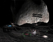 Asteroid Mining Prints - Artists Concept Of A Mining Settlement Print by Walter Myers