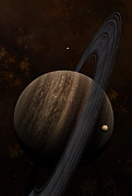 Digitally Generated Image Art - Artists Concept Of A Ringed Gas Giant by Frieso Hoevelkamp