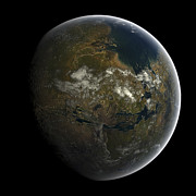 World Map Digital Art Posters - Artists Concept Of A Terraformed Mars Poster by Frieso Hoevelkamp
