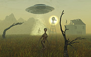 Paranormal  Digital Art - Artists Concept Of Alien Visitors by Mark Stevenson