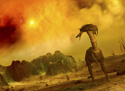 Mesozoic Era Posters - Artists Concept Of An Alien Planet Poster by Walter Myers