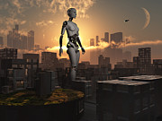 Industrial Concept Digital Art Prints - Artists Concept Of Androids Governing Print by Mark Stevenson