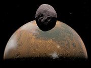 Phobos Framed Prints - Artists Concept Of Mars And Its Tiny Framed Print by Walter Myers