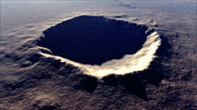 Impact Metal Prints - Artists Concept Of Meteor Crater Metal Print by Rhys Taylor